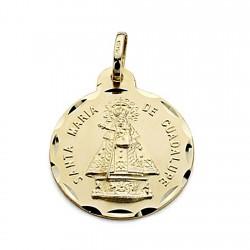 Medalla oro 18k Virgen de Guadalupe 20mm. inscripción [8074]