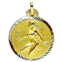Colgante oro 18k horoscópo Virgo medalla [87]