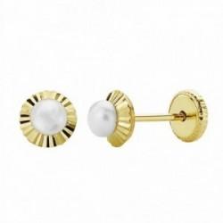 Pendientes oro 18k perla orla 5mm. tallada [AA1003]