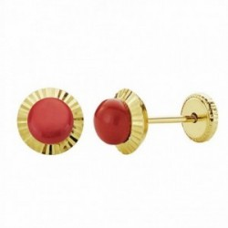 Pendientes oro 18k coral orla 6mm. tallada [AA1005]
