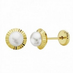 Pendientes oro 18k perla orla 6mm. tallada [AA1006]