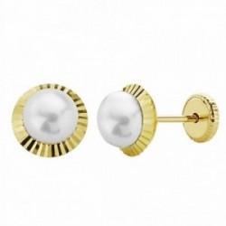Pendientes oro 18k perla orla 7mm. tallada [AA1009]