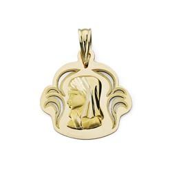 Colgante oro 18k Virgen Niña calada 19mm. [7454]
