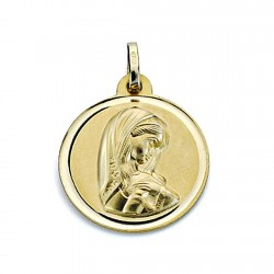 Medalla oro 18k Virgen Niña 18mm. bisel liso [8073]