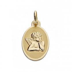 Medalla oro 18k 17mm. Ángel burlón oval [8994]