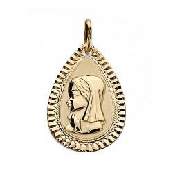 Medalla oro 18k Virgen Nina 20mm. bisel chico [9016GR]