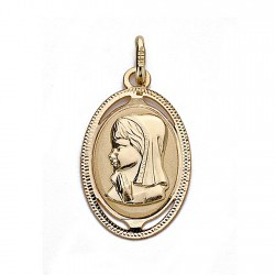 Medalla oro 18k Virgen Niña 20mm. oval [9019]