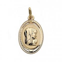 Medalla oro 18k Virgen Nina oval 20mm. caladita [9020GR]