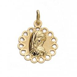 Medalla oro 18k Virgen Niña 18mm. redonda calada exterior [9026]