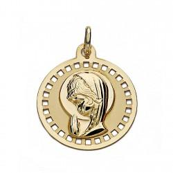 Medalla oro 18k Virgen Niña 18mm. circular calada [9035]