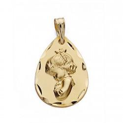 Medalla oro 18k Virgen Niña 21mm. lágriama [9084]