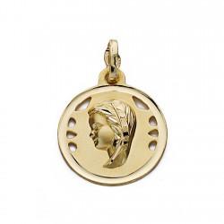 Medalla oro 18k Virgen Niña 19mm. cerco calada [9089]