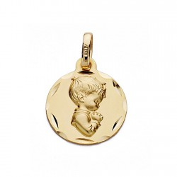 Medalla oro 18k redonda chico rezando 14mm. [9094]
