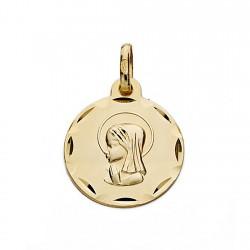 Medalla oro 18k Virgen Niña 16mm. redonda biselada [9097]