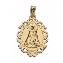 Medalla oro 18k Virgen Desamparados cerco 30mm. [AA0531]