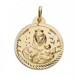 Medalla oro 18k Virgen del Carmen y Cristo Jesús 26mm. [AA0561]