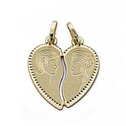 Colgante oro 18k enamorados corazón partido 16mm. [8313]
