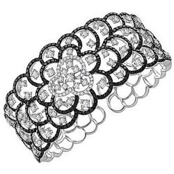 Pulsera aro brazalete oro blanco 18k diamantes [5709]