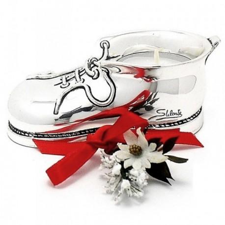 Portavela plata Ley 925m zapato 10cm. flor lazo rojo