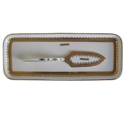 Bandeja cerámica adorno oro [3975]