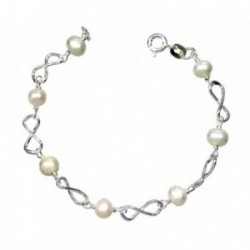 Pulsera plata ley 925m comunión perla cultivada 6mm [AA1027]
