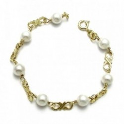 Pulsera plata ley 925m chapada oro comunión perla shell [AA1029]