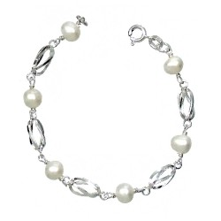Pulsera plata ley 925m comunión perla cultivada 6mm [AA1025]
