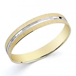Alianza oro 18k bicolor 3,5mm. tallada [8055]