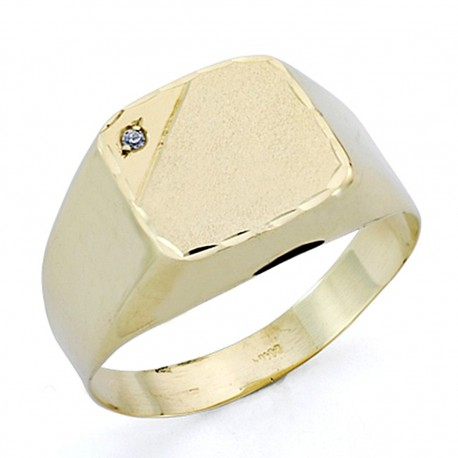 Sello oro 18k caballero circonita hueco [7522]