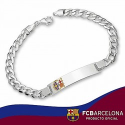 Esclava F.C. Barcelona Plata de ley barbada esmalte 20cm. [6873]