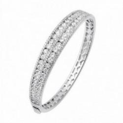 Pulsera brazalete oro blanco 18k diamantes 6.46ct [AA1096]