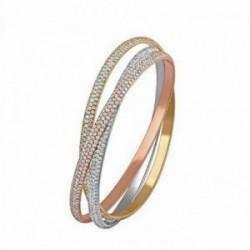 Brazalete oro 18k blanco amarillo y rosa diamantes 16.93ct [AA1097]