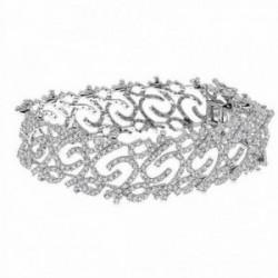 Pulsera brazalete oro blanco 18k 627 diamantes 4.5ct. [AA1103]
