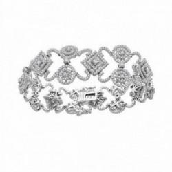 Pulsera brazalete oro blanco 18k 1036 diamantes 5.02ct [AA1104]
