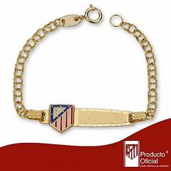 Esclava escudo Atlético de Madrid oro de ley 18k bebé esmalte [6982]