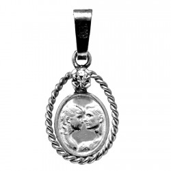Colgante plata Ley 925m medalla circonita enamorados beso. [1209]