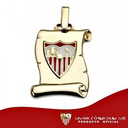 Colgante pergaminto escudo Sevilla FC oro de ley 9k 21mm. [8696]