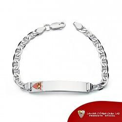Esclava escudo Sevilla FC plata de ley ancla cadete maciza [8515]