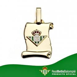 Colgante pergamino escudo Real Betis oro de ley 18k pequeño [8611]