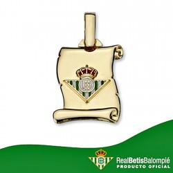 Colgante pergamino escudo Real Betis oro de ley 9k 17mm. [8712]