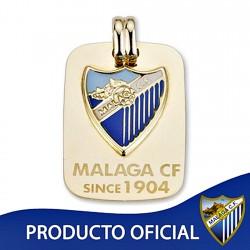Colgante chapa escudo Málaga CF oro de ley 9k 27mm. [8740]