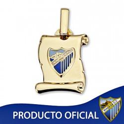 Colgante pergamino escudo Málaga CF oro de ley 9k 17mm. [8730]