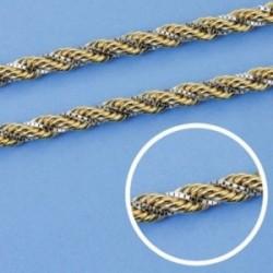Cordón cadena oro 18k bicolor salomónico 60cm. 4mm. [AA1601]