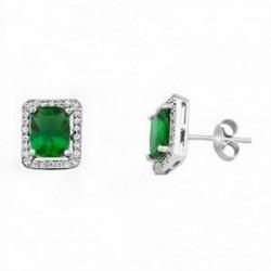 Pendientes plata ley 925m 8mm piedra color esmeralda [AA1115]