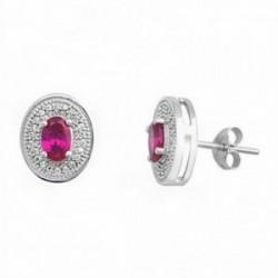 Pendientes plata ley 925m 6mm piedra color rubí [AA1139]