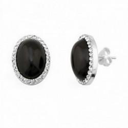 Pendientes plata ley 925m plateada 12x16mm piedra color negra [AA1218]