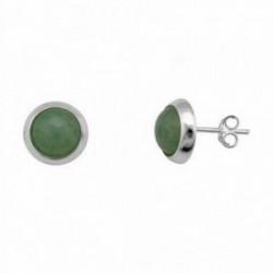 Pendientes plata ley 925m rodiada 10mm piedra verde [AA1446]