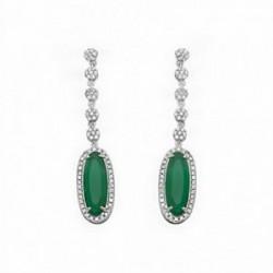 Pendientes plata ley 925m rodiada 17mm esmeralda color [AA1453]