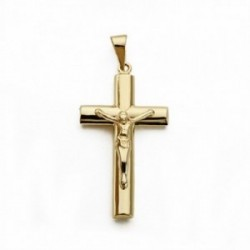 Cruz crucifijo oro 9k cristo 27mm. palo oval [AA1605]
