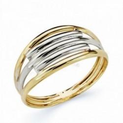 Sortija oro 9k bicolor bandas [AA1717]